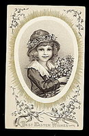 Lovely Easter Wishes Girl & Lily of the Valley Postcard