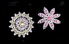 2 Lovely Star/Floral Silvertone with Stones Brooches