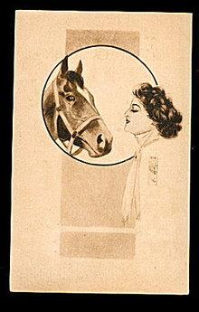 Lovely 1909 Girl with Horse Artist Postcard