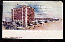 1909 La Salle Street Train Station, Chicago IL Postcard