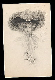 Stunning Artist Girl/Lady in Large Hat Artist Postcard