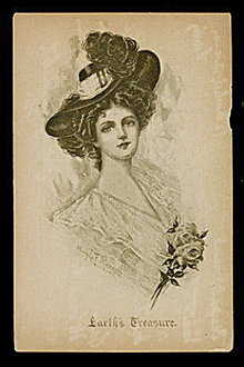 'Earth's Treasure' Mary L Russell Artist Girl Postcard