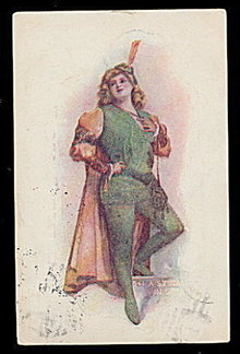 'A Study in Green' Robin Hood Type Girl 1908 Postcard