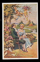 Lovely 'To My Valentine' Colonial Couple 1908 Postcard