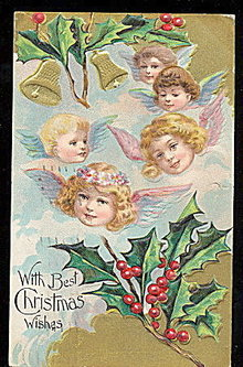 Lovely Christmas Children Angels 1913 Postcard