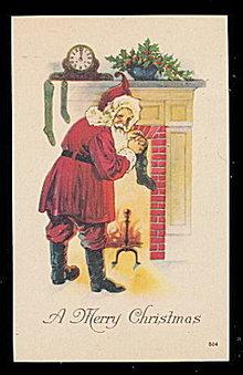Great Santa Claus 1919 Hanging Stockings Postcard