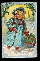 Lovely Christmas Girl Pulling Sled 1908 Postcard