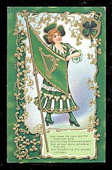 Lovely St. Patricks Day Girl with Flag 1910 Postcard