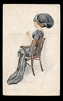 Lovely Lady in Blue /Hat Anna Nordstrom-Feind Postcard