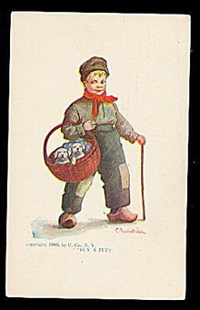 1905 C Bernardt Wall 'Buy a Pup?' with Boy Postcard