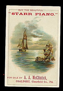 1880s 'Starr Piano' Victorian Trade Card