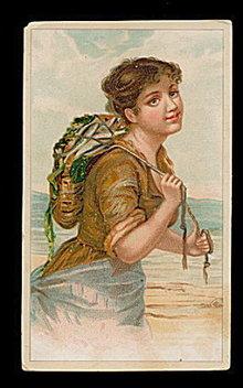 1890 'Ariosa Coffee' Girl w Fish Victorian Trade Card