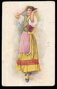 """Swiss Dancer"" Glamour Girl 1910 Postcard"