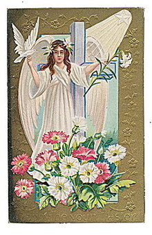 Lovely Winsch 1910 Easter Angel with Dove Postcard