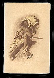 1911 W F Davis Indian with Gun Artist Postcard