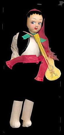 """1950s 9"""" Greek Musician Souvenir Cloth Doll"""