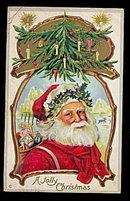 Lovely Santa Claus 'A Jolly Christmas' 1912 Postcard