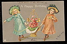Lovely EAS Germany Girls w Basket of Flowers Postcard