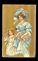 Lovely Victorian Woman & Girl 1908 Postcard