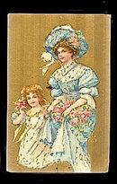Lovely Victorian Woman & Girl 1908 Postcard
