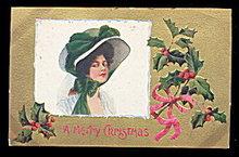 F Earl Christy Christmas Lady/Girl 1908 Postcard