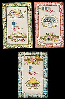 3 New Years Greetings 1913 Postcards