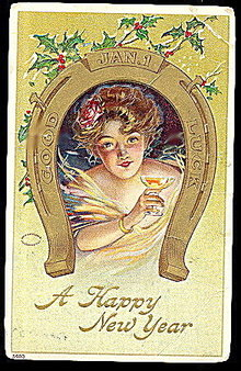 1908 'A Happy New Years' Girl in Horseshoe Postcard