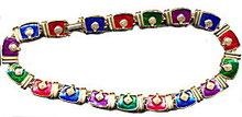 "Lovely 15"" Goldtone with Enameled Link Necklace"