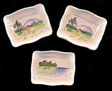 Lovely Set of 3 Vintage Hand Painted Japan Butter Pats