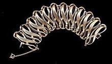 Gorgeous Wide Goldtone S-Wave Vintage Bracelet
