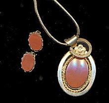 Lovely Vintage Genuine Stone Necklace & Earrings Set