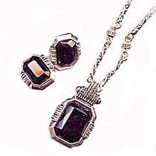 Black Lucite Inset with Silvertone Necklace & Earrings