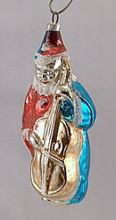 "Antique 3 1/2"" Boy Clown w Violin Glass Ornament"