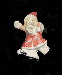 "Great Early Small 1 3/4"" Bisque Santa Claus"
