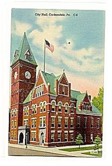 Carbondale, PA, City Hall 1930s Postcard