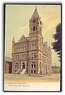 Erie, PA, City Hall 1906 Postcard