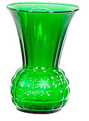 "Lovely Vintage 9"" Green Glass Vase"