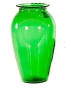"""Lovely Vintage 9"""" Bowl Green Glass Vase"""