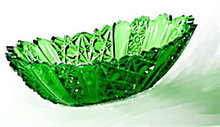 """Lovely 9"""" Vintage Green Glass Relish Dish"""