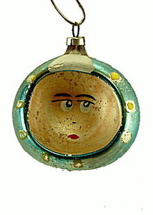 Early 1900s Smiling Face Indent Christmas Ornament