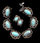 Vintage Silvertone & Blue Lucite Necklace & Earrings