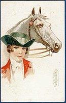 1907 E Columbo Signed Girl & Horse Postcard