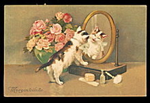 Cats Looking in Mirror 1927 Postcard