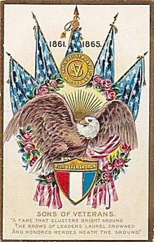 1861-1865 'Sons of Veterans' Eagle Patriotic Postcard