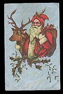Great Santa Claus with Reindeer 1909 Postcard