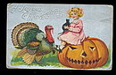 Great 1907 Thanksgiving Girl on Jack-O-Lantern Postcard