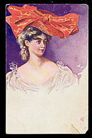 Lovely 1907 Glamour Girl with HUGE Hat Postcard