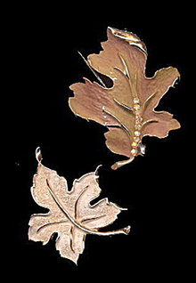 2 Vintage Leaf Brooches/Pins inc BSK