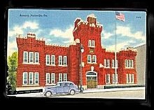 Pottsville, PA, Armory 1930s Postcard