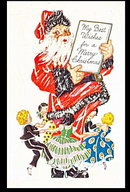 Santa Claus with Children Circling 1910 Postcard